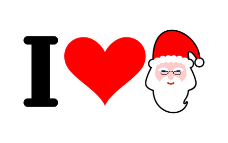 I love Santa. Heart and face of Claus. I Like Christmas and New Year