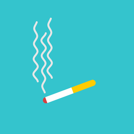 Cigarette and smoke isolated. smoking on blue background. Tobacco flat icon Illustration