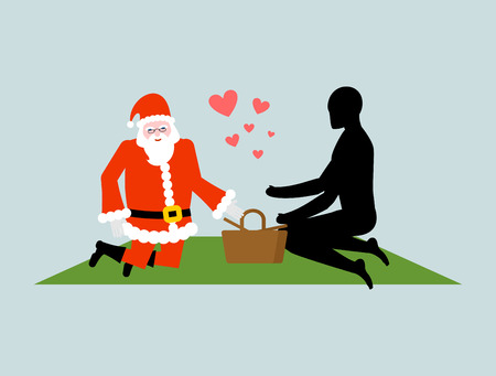 rendezvous: Christmas Lover. Santa Claus on picnic. Rendezvous in Park. Meal in nature. Plaid and basket for food on lawn. Romantic New Year date.