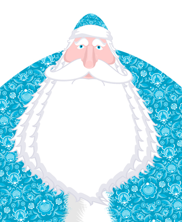 moroz: Russian Santa Claus Father Frost. Ded moroz- Santa of Russia. Christmas old man in national blue suit. New Year fairy tale character. Xmas template