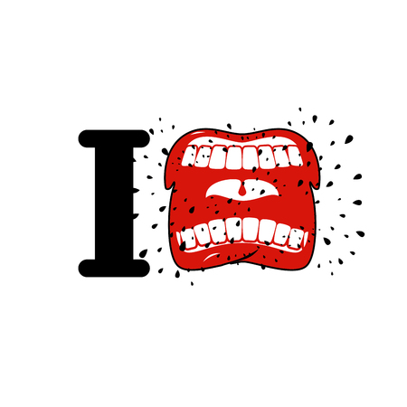 cursing: I hate template. shout symbol of hatred. Aggressive Open mouth. Yelling and cursing
