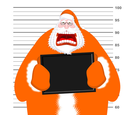 Mugshot of Santa Claus orange prisoner clothing. Mug shot of Christmas police station. Arrested Bad Santa is holding black plate. Grandpa Photo delinquent in custody for new year. Portrait of criminal Illustration