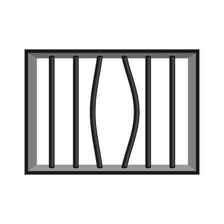 break in: Prison grill isolated. Window in prison with bars. Jail break