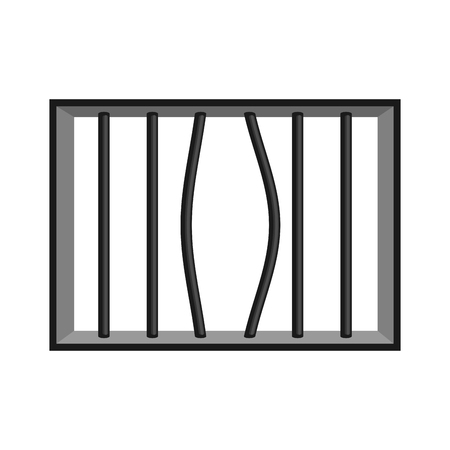 Prison grill isolated. Window in prison with bars. Jail break