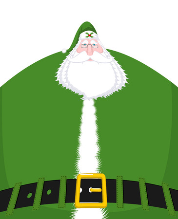 Santa Claus Ireland -  Daidi na Nollag Irish language. Christmas old man in green clothes. Sprig of mistletoe on cap. Great Irish Santa (Daddy of Christmas). Traditional New Year grandfather