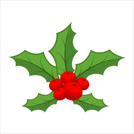spiked: Mistletoe isolated. Traditional Christmas plant. Holiday red berry with green leaves. Decorating for national Festive on white background. xmas design template Illustration