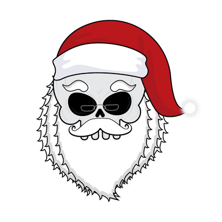 Santa skull. skeleton head in red santa hat. Death Christmas.