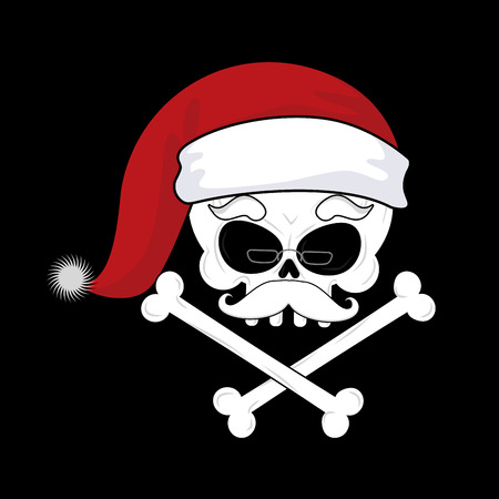 Santa Claus Death. Christmas skull. skeleton head in red santa hat