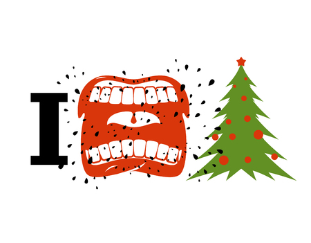cursing: I hate Christmas. shout symbol of hatred and Christmas tree. Aggressive Open mouth. Yelling and cursing. I do not like New year Illustration