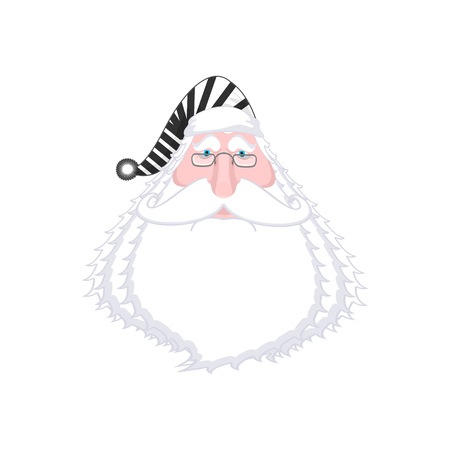 offender: Santa face in striped robe. Arrested Bad Claus. Grandpa Photo Prisoner in custody for new year. offender portrait