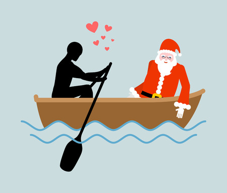 Christmas Lover. Man and Santa Claus and ride in boat. Lovers of sailing. Man rolls santa gondola. Rendezvous in boat on pond. Romantic New Year date.