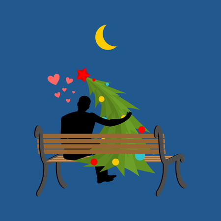 date night: Christmas Lover. Christmas tree and man looking at moon. Date night. Man and spruce sit on bench. Month in night dark sky. Romantic New Year illustration