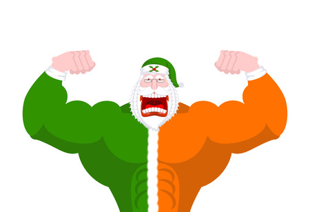 Strong Irish Santa (Daddy of Christmas). Powerful Santa Claus Ireland ( Daidi na Nollag ) Irish language. Christmas old man in clothes flag colors of green and orange. Sprig of mistletoe on cap. Traditional New Year grandfather