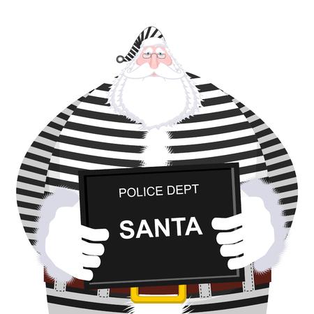 offender: Mugshot Santa Claus at Police Department. Mug shot Christmas. Arrested Bad Santa in striped robe holding black plate. Grandpa Photo Prisoner in custody for new year. offender portrait
