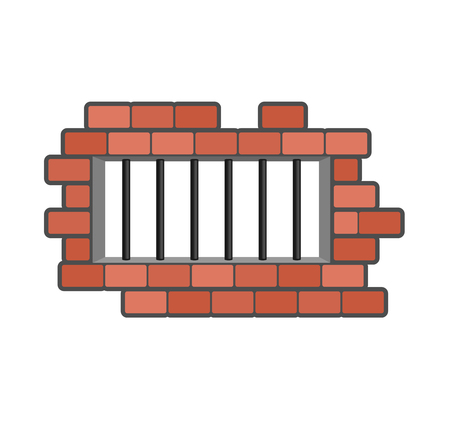 penitentiary: Prison grill and wall. Window in prison with bars. Jail isolated