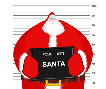 incarcerated: Mugshot Santa Claus at Police Department. Mug shot Christmas. Arrested Bad Santa holding black plate. Grandpa Photo Prisoner in custody for new year. offender portrait