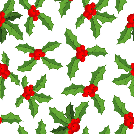 christmas plant: Mistletoe seamless pattern. Traditional Christmas plant background. Festive red berry with green leaf texture. Decoration folk ornament for holiday