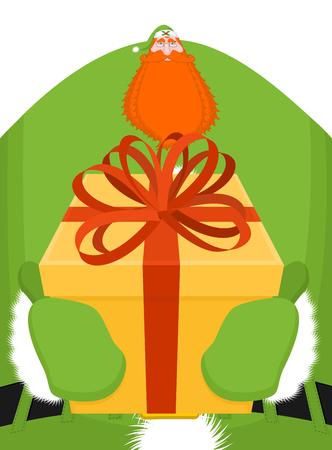 a sprig: Irish Santa (Daddy of Christmas). Santa Claus Ireland Daidi na Nollag Irish language. Christmas old man in green clothes. Sprig of mistletoe on cap. Traditional New Year grandfather  Illustration