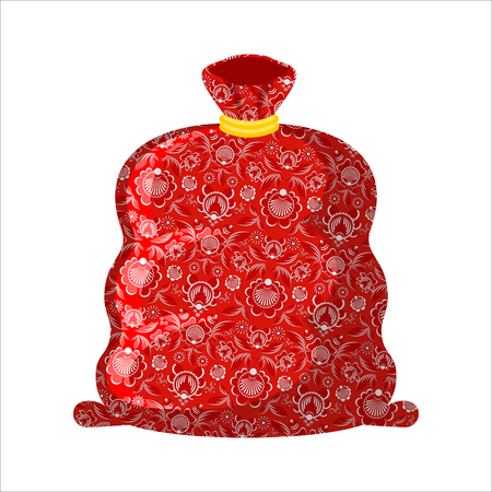 moroz: Bag ded moroz- Russian Santa Claus (father frost). Big red sack with gifts isolated
