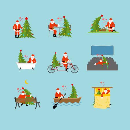 pareja comiendo: Santa Claus y recogida de árboles de Navidad. establece LOVERR Navidad. Papá y el abeto en el cine. Amantes en el baño. Cita romántica. Paseo en barco. paseo conjunta. ciclo en tándem. El desayuno en la cafetería. Picnic en el parque