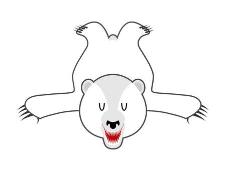 bearskin: White Bear skin. Bearskin of polar bear of wild animal north pole. Hunter trophy isolated. Fur carpet.