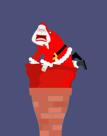 Santa Claus in chimney. Santa bag stuck in chimney. Big red sack with gifts does not fit