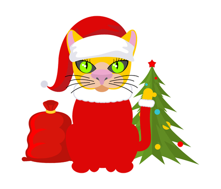Christmas Cat. Pet in Santa Claus hat. Red bag with gifts. New Year illustration. Xmas template of cute cat