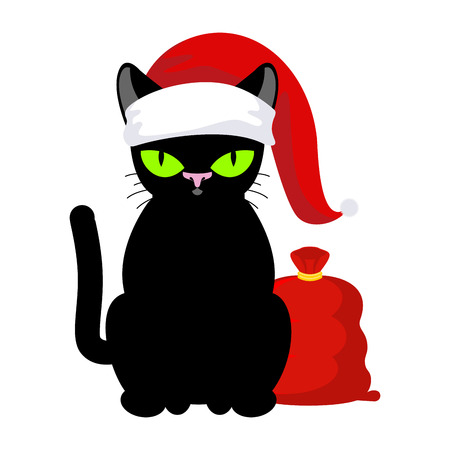 Santa Claus Cat. Pet in Christmas hat. Red bag with gifts. New Year illustration. Xmas template of cute black cat