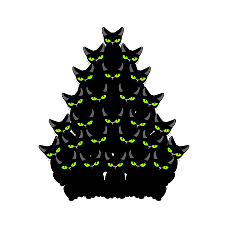 Christmas tree of cats. Spruce of pet. fir-tree from cat. New Year illustration. Hmas pattern of cute animal Illustration