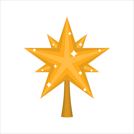 Christmas gold Star for tree. decoration for fir-tree isolated. New year ornament