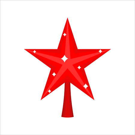 Christmas red Star for tree. decoration for fir-tree isolated. New year ornament