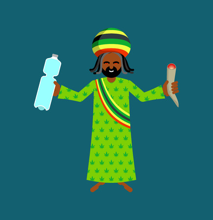 rasta hat: Jah God for Rastafarian. Rasta hat and deredy. Bottle of water and joint or spliff. Jamaican deity Illustration