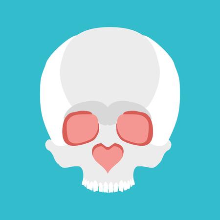 ironic: Skull love. Nose heart. Valentines Day illustration Illustration