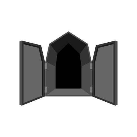 unblock: Open doors isolated. Door to Hell. unblock black shutters on white background. Illustration