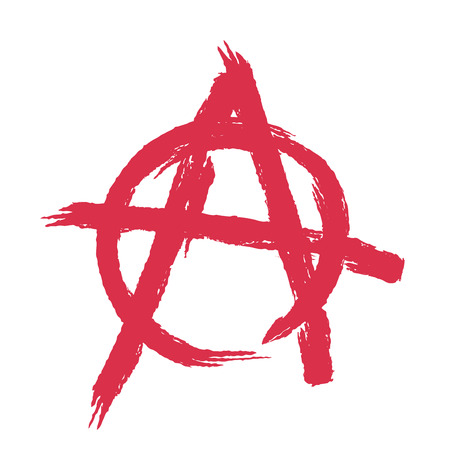 Anarchy sign isolated. Brush strokes grunge style Stock Illustratie