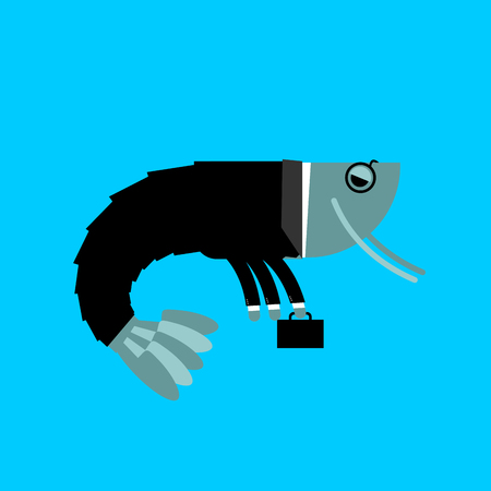 plancton: Office plankton isolated. Marine animals in business suit. Manager with suitcase. pin-striped masses Vectores