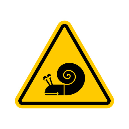 Attention snail. Danger yellow road sign. Slow driver Caution