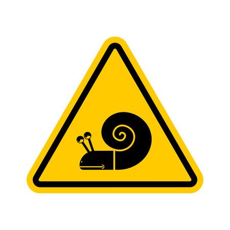 Uwaga ślimak. Niebezpieczeństwo żółty znak drogowy. Powolne kierowcy Przestroga Ilustracje wektorowe