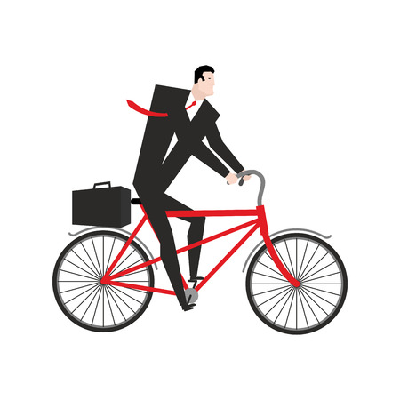 cycle suit: Businessman cycling. boss is on bicycle. Business illustration