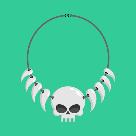 necklace of skulls and tusks. ethnic Decoration indigenous cannibal tribes Illustration