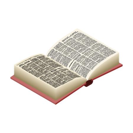 Open boek geïsoleerd. Geopend oud volume op een witte achtergrond