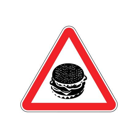 sesame: Attention Hamburger. Dangers of red road sign. Burger Fast food Caution Illustration