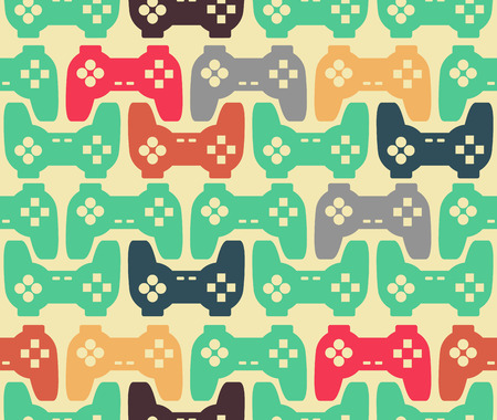 Joystick seamless pattern. Retro gamepad texture. Vintage video game accessory background. console gadget ornament