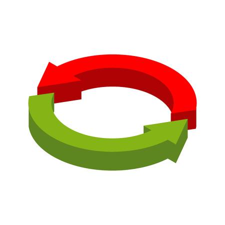 Cambio de signo. aislado reemplazar símbolo. intercambiar logotipo de la empresa. Rojo y sonrisa flecha círculo