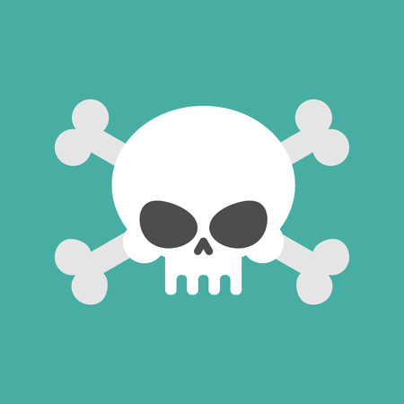 Skull and crossbones isolated. pirate Danger sign. skeleton head symbol of death