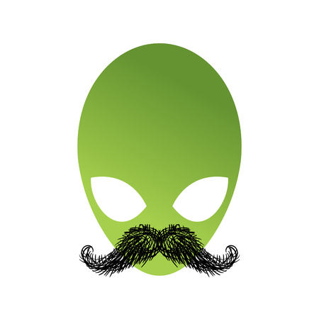 humanoid: UFO hipster with mustache. Alien head isolated. Green Humanoid face