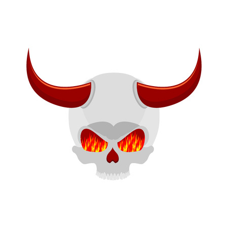 demon skull with horns. eyes of flame. Satan skeleton