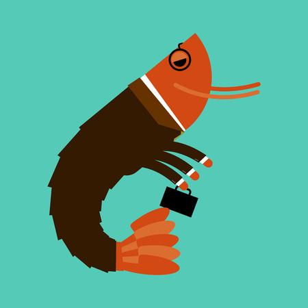 plancton: aislado oficina de plancton. Animales marinos en traje de negocios. Gerente con la maleta. masas a rayas