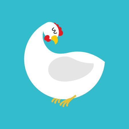 White hen isolated. Farm chicken bird on blue background Illustration