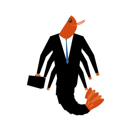 plankton: Office plankton isolated. Marine animals in business suit. Manager with suitcase. pin-striped masses Illustration